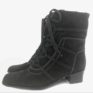 SESTO MEUCCI lace up fur lined ankle boots 8 1/2